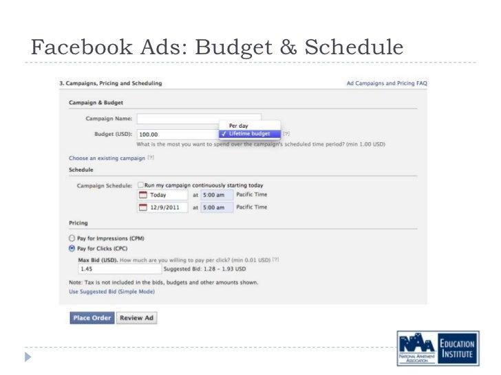 Facebook Ads: Budget & Schedule