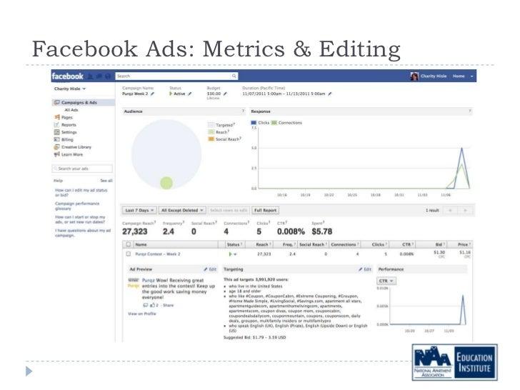 Facebook Ads: Metrics & Editing