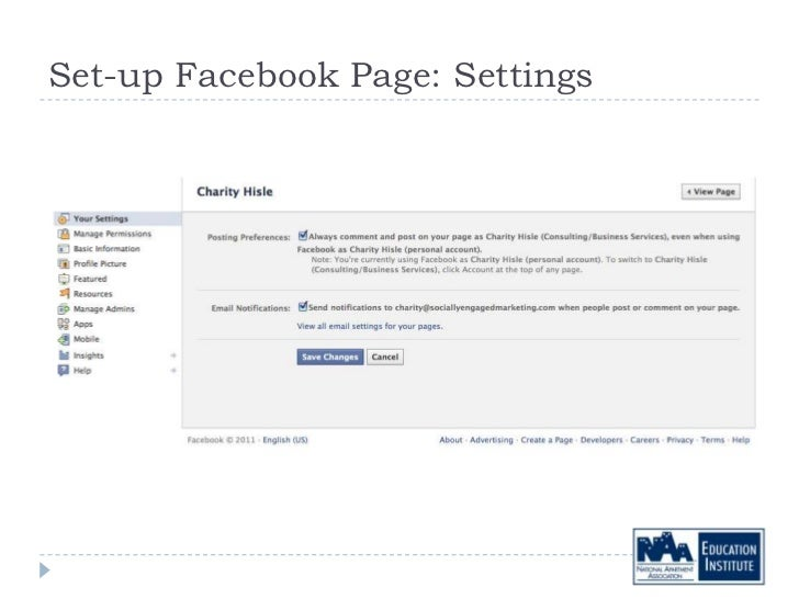 Set-up Facebook Page: Settings