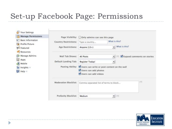 Set-up Facebook Page: Permissions