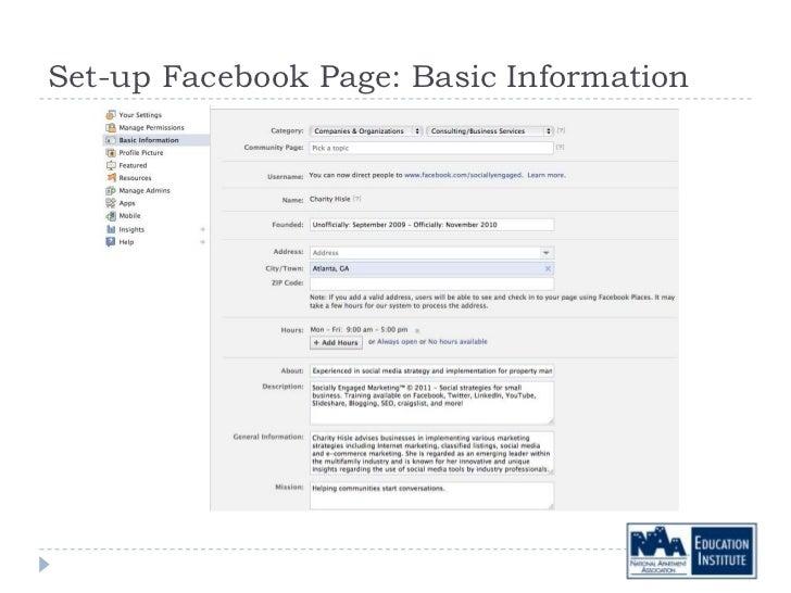 Set-up Facebook Page: Basic Information