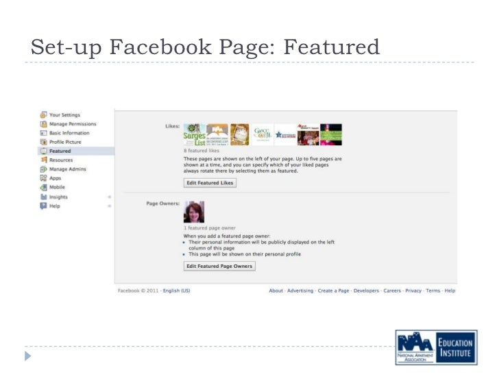 Set-up Facebook Page: Featured