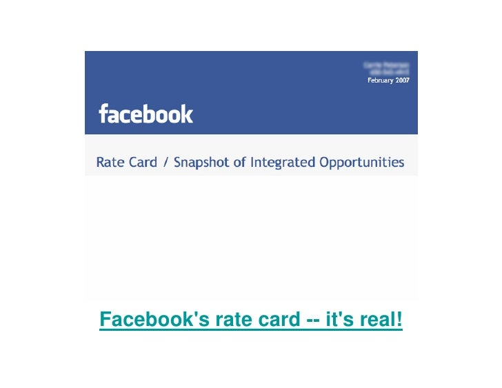 Facebook's rate card -- it's real!
