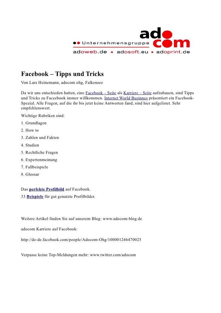 Facebook – Tipps und Tricks Von Lars Heinemann, adocom ohg, Falkensee  Da wir uns entschieden hatten, eine Facebook – Seit...
