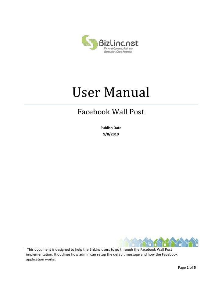 bizlinc facebook wall post user manual rh slideshare net facebook user manual printable facebook user manual 2016