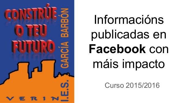 Informacións publicadas en Facebook con máis impacto Curso 2015/2016