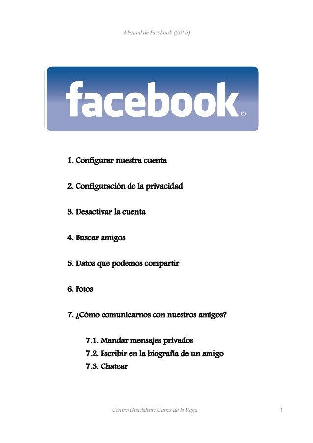 Manual de Facebook (2015) 1. Configurar nuestra cuenta 2. Configuración de la privacidad 3. Desactivar la cuenta 4. Buscar...
