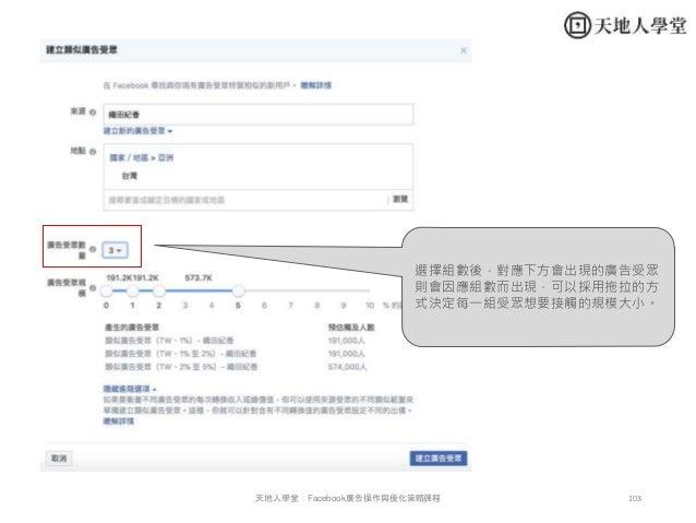 103天地人學堂:Facebook廣告操作與優化策略課程 選擇組數後,對應下方會出現的廣告受眾 則會因應組數而出現,可以採用拖拉的方 式決定每一組受眾想要接觸的規模大小。