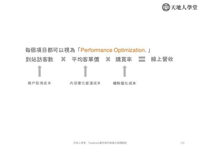 176天地人學堂:Facebook廣告操作與優化策略課程 到站訪客數 平均客單價 購買率 線上營收 用戶取得成本 內容優化營運成本 機制優化成本 每個項目都可以視為「Performance Optimization. 」