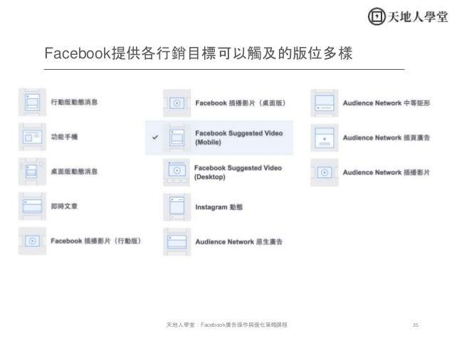 35天地人學堂:Facebook廣告操作與優化策略課程 Facebook提供各行銷目標可以觸及的版位多樣