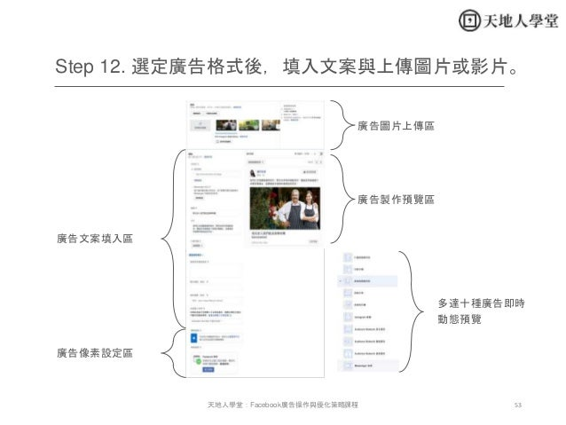 53天地人學堂:Facebook廣告操作與優化策略課程 Step 12. 選定廣告格式後,填入文案與上傳圖片或影片。 廣告圖片上傳區 廣告製作預覽區 廣告文案填入區 廣告像素設定區 多達十種廣告即時 動態預覽