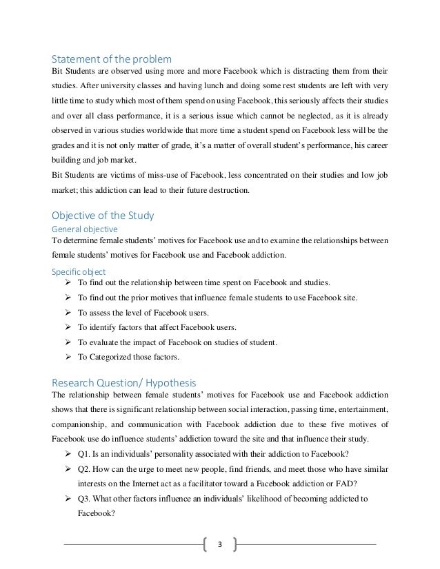 thesis statement about facebook addiction Free essay: pasig catholic college high school department sy 2011 - 2012 the effects of social networking to the study habits of 4th year high school.