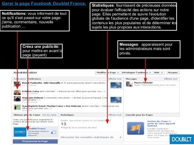 Gerer la page Facebook Doublet France. Notifications: vous informent de tout ce qu'il s'est passé sur votre page: j'aime, ...