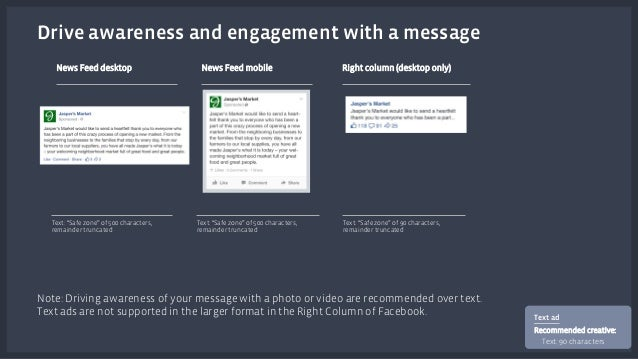"""Drive awareness and engagement with a message  News Feed desktop News Feed mobile Right column (desktop only)  Text: """"Safe..."""