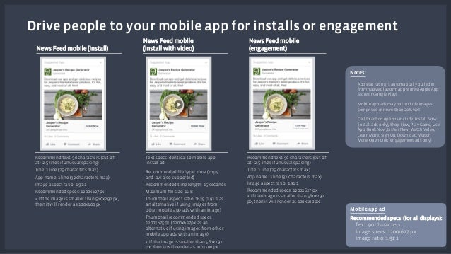 Drive people to your mobile app for installs or engagement  News Feed mobile (install)  News Feed mobile  (install with vi...