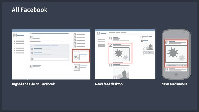 All Facebook  Sponsored  Right-hand side on Facebook News feed desktop News feed mobile