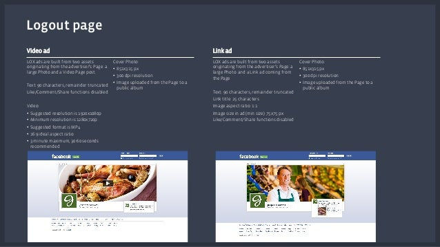 Video ad  LOX ads are built from two assets  originating from the advertiser's Page: a  large Photo and a Video Page post....