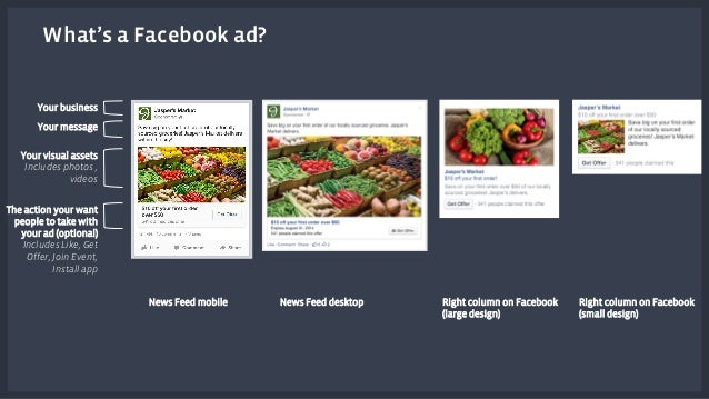 What's a Facebook ad?  Right column on Facebook  (large design)  News Feed mobile News Feed desktop  Your business  Your m...