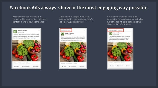 Facebook Ads always show in the most engaging way possible  Ads shown to people who are  connected to your business displa...