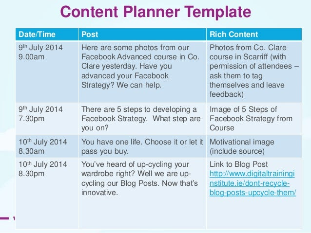 Facebook marketing advanced posting for the month ahead 27 content planner template pronofoot35fo Image collections