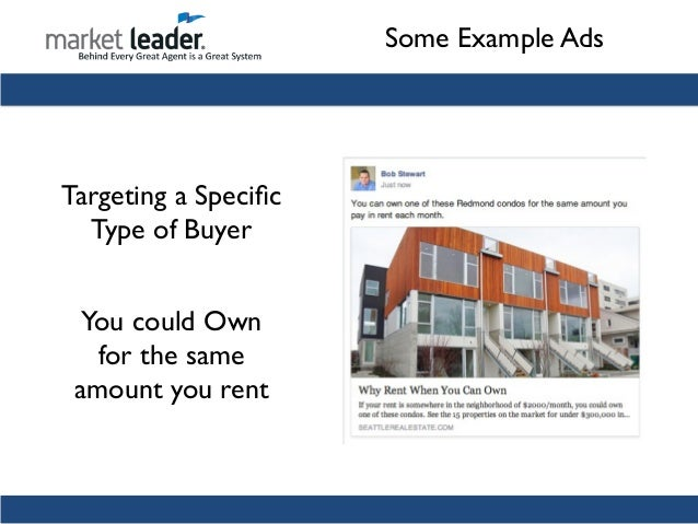 some example ads targeting buyers with a listing live by some place 23