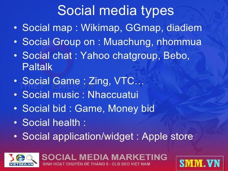 Social media types <ul><li>Social map : Wikimap, GGmap, diadiem </li></ul><ul><li>Social Group on : Muachung, nhommua </li...