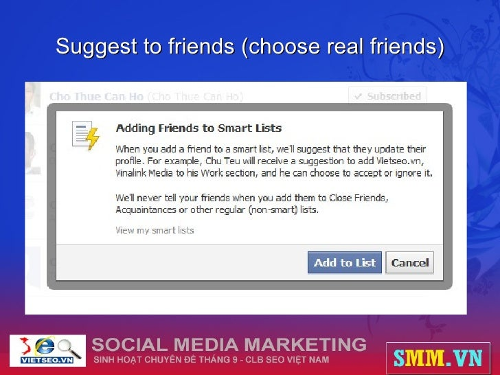 Suggest to friends (choose real friends)