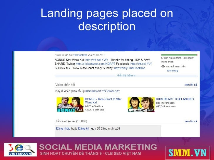 Landing pages placed on description