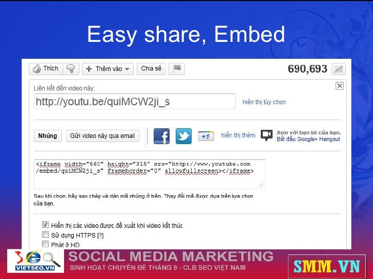 Easy share, Embed