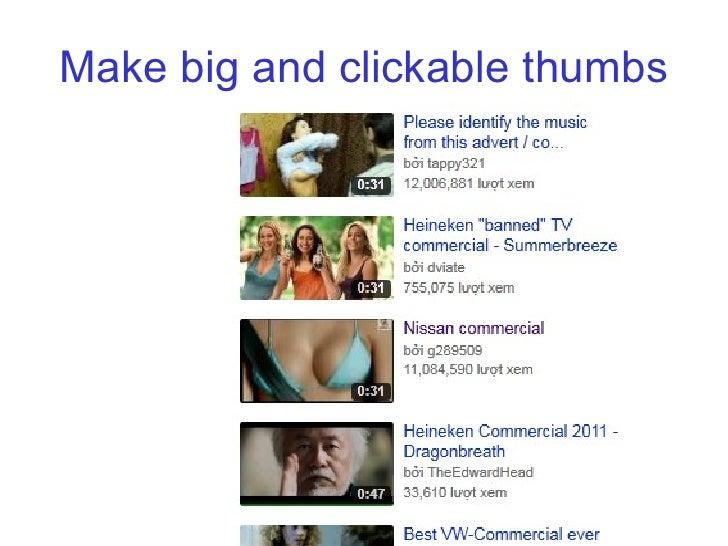 Make big and clickable thumbs