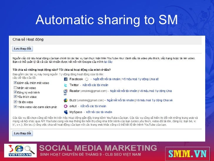 Automatic sharing to SM