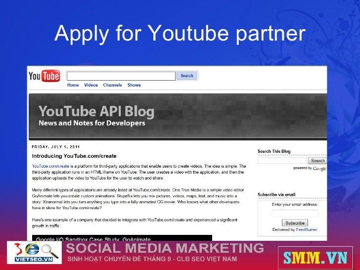 Apply for Youtube partner