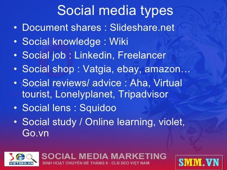 Social media types <ul><li>Document shares : Slideshare.net </li></ul><ul><li>Social knowledge : Wiki </li></ul><ul><li>So...