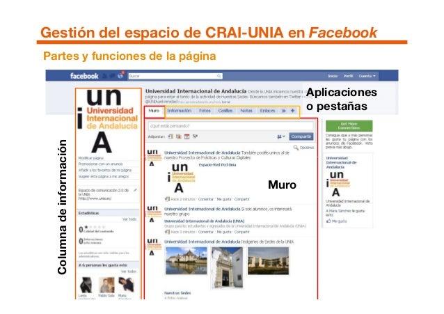 Partes y funciones de la página Aplicaciones o pestañas Columnadeinformación Gestión del espacio de CRAI-UNIA en Facebook ...