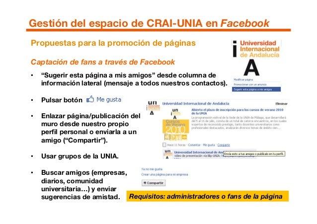 """Propuestas para la promoción de páginas Captación de fans a través de Facebook • """"Sugerir esta página a mis amigos"""" desde ..."""