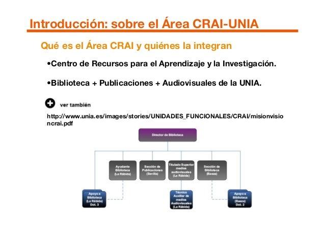 •Centro de Recursos para el Aprendizaje y la Investigación. •Biblioteca + Publicaciones + Audiovisuales de la UNIA. http:/...