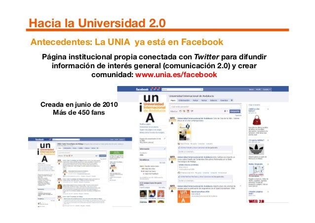 Página institucional propia conectada con Twitter para difundir información de interés general (comunicación 2.0) y crear ...