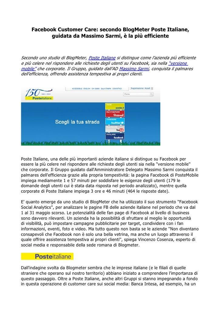 Facebook Customer Care: secondo BlogMeter Poste Italiane,            guidata da Massimo Sarmi, è la più efficienteSecondo ...