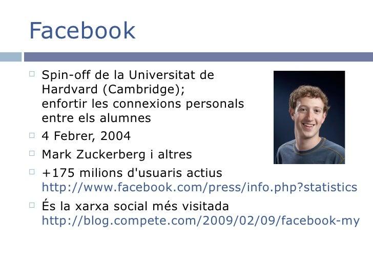 Facebook <ul><li>Spin-off de la Universitat de Hardvard (Cambridge); enfortir les connexions personals entre els alumnes <...