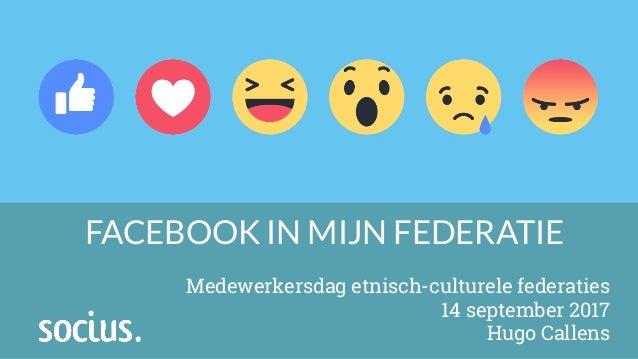 FACEBOOK IN MIJN FEDERATIE Medewerkersdag etnisch-culturele federaties 14 september 2017 Hugo Callens