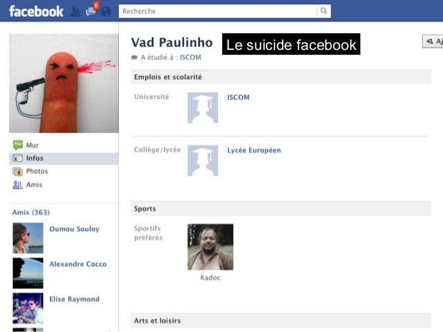 Le suicide facebook  La photo de profil « en couple »  Morgane Gcd  avec André  Foucteau, à : Paris,  France.