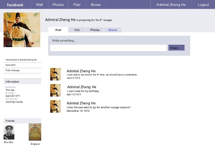 facebook Admiral Zheng He  is preparing for his 4 th  voyage. Wall Photos Flair Boxes Admiral Zheng He Logout View photos ...