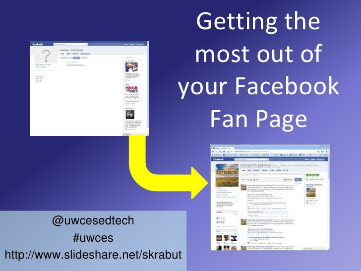 Getting the most out of your Facebook Fan Page<br />@uwcesedtech<br />#uwces<br />http://www.slideshare.net/skrabut<br />