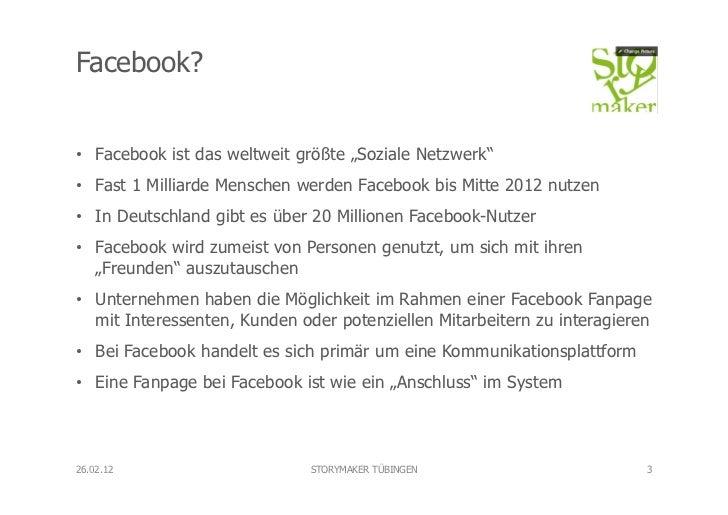 """Facebook?• Facebook ist das weltweit größte """"Soziale Netzwerk""""• Fast 1 Milliarde Menschen werden Facebook bis Mitte 2012..."""