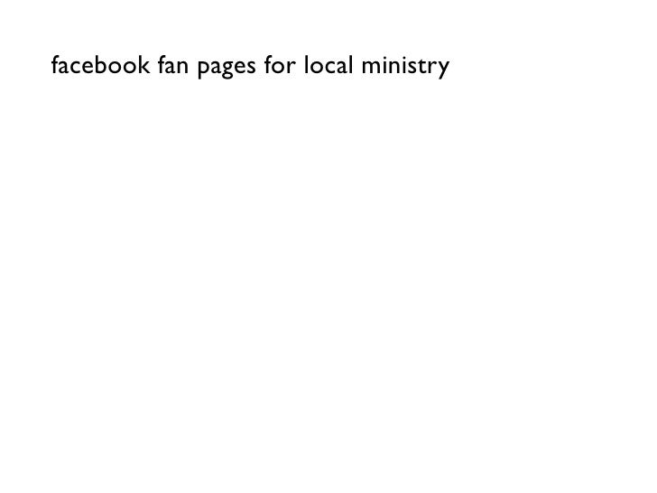 facebook fan pages for local ministry