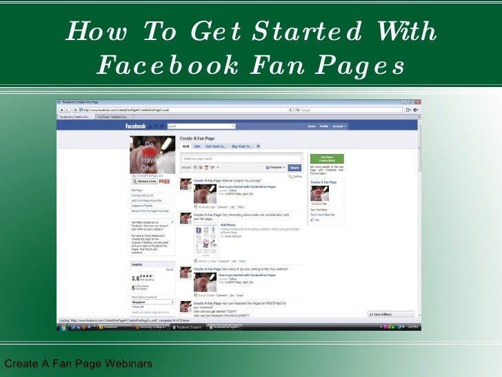How To Get Started With Facebook Fan Pages Create A Fan Page Webinars