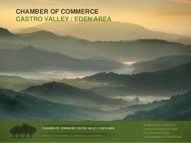 CHAMBER OF COMMERCE CASTRO VALLEY / EDEN AREA Ashland • Castro Valley • Cherryland • San Lorenzo Reailize your business or...