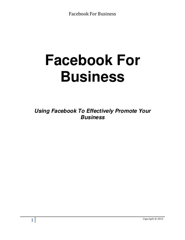 Using facebook effectively in small business