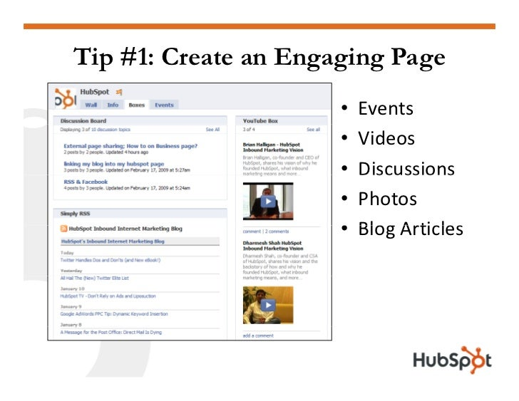 Tip #1: Create an Engaging Page                           Events                       •                           Videos ...