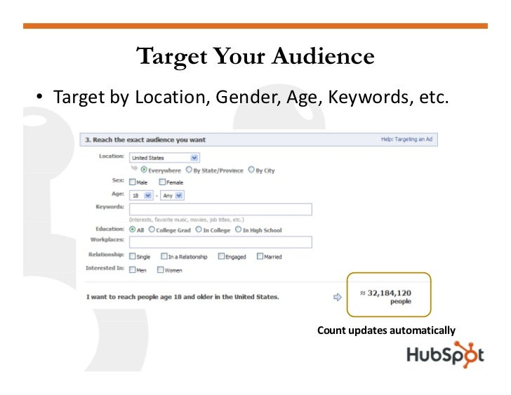 Target Your Audience • TargetbyLocation,Gender,Age,Keywords,etc.                                      Countupdates...